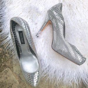 White House Black Market Silver Heels 6